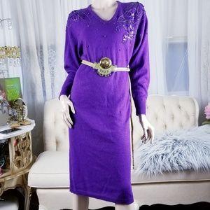df62d82d753 Dresses   Skirts - Purple Vintage 80 s Beaded Sweater Dress
